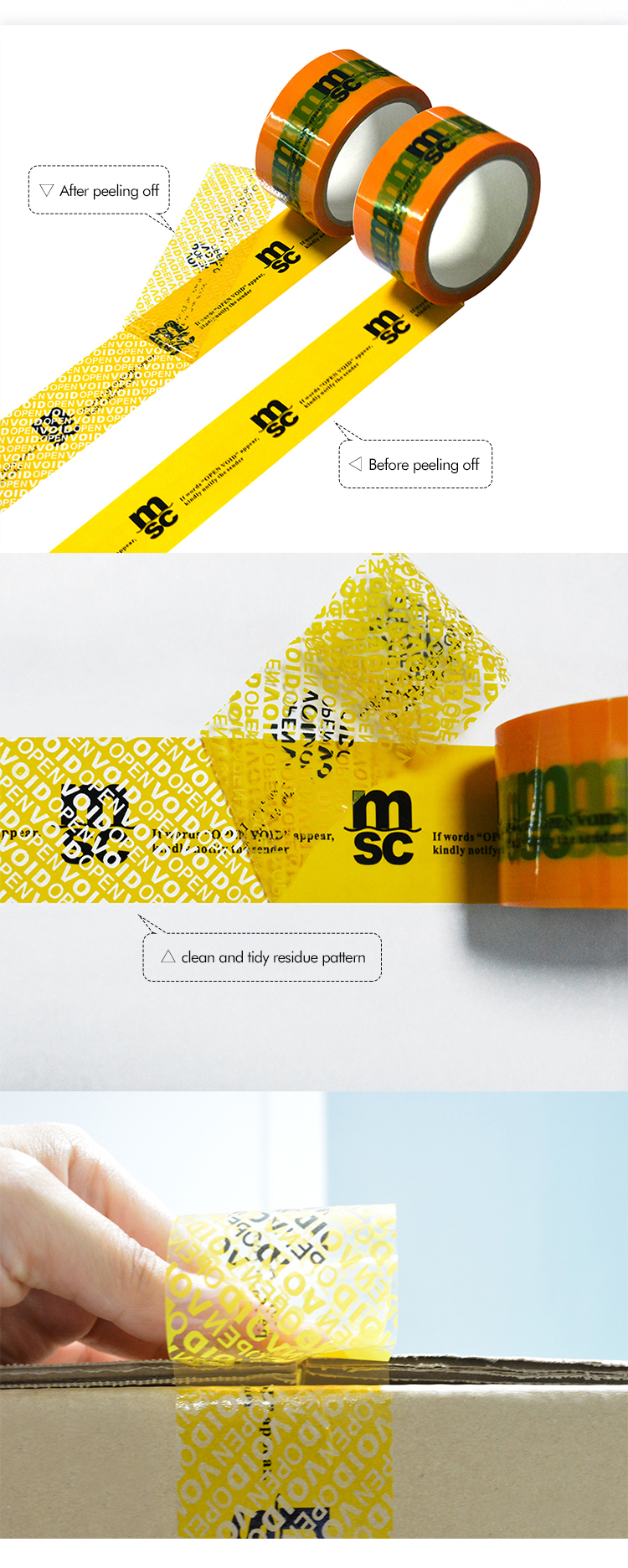 Anti Tamper Custom Printed Security Tape